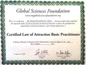 Law of Attraction Certificate | Donna Tornillo